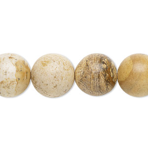 bead, picture jasper (natural), 14mm round, b grade, mohs hardness 6-1/2 to 7. sold per 16-inch strand.