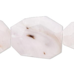 bead, pink opal (natural), 30x25mm-38x30mm faceted flat rectangle, b grade, mohs hardness 5 to 6-1/2. sold per 16-inch strand.