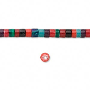 bead, plastic, multicolored, 4-5mm heishi with 0.5-0.7mm hole. sold per 16-inch strand.