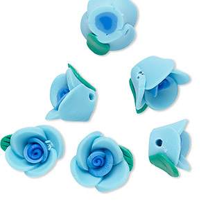 bead, polymer clay, dark blue / blue / green, 12x12x8mm rose with 1.4-2mm hole. sold per pkg of 6.