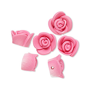 bead, polymer clay, mauve, 11x10x7mm rose. sold per pkg of 24.