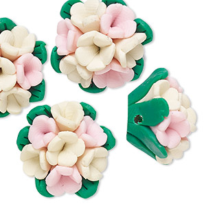 bead, polymer clay, pink / ivory / green, 21x20x12mm flower. sold per pkg of 4.