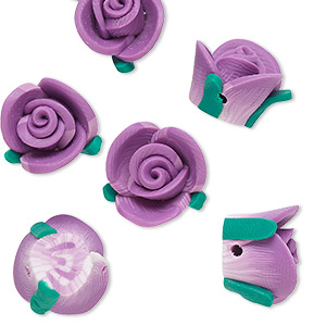 bead, polymer clay, purple / white / green, 15x14x9mm rose. sold per pkg of 6.