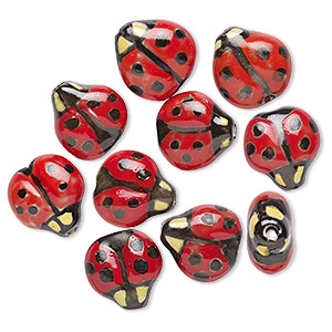 bead, porcelain, black / red / yellow, 16x16mm double-sided hand-painted ladybug. sold per pkg of 10.