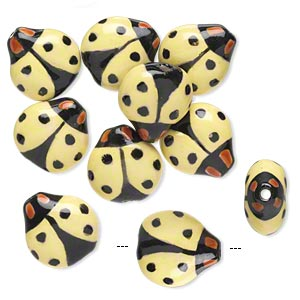 bead, porcelain, black / yellow / brown, 16x16mm double-sided hand-painted ladybug. sold per pkg of 10.