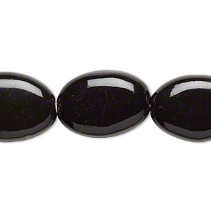 bead, porcelain, black, 33x23mm-35x25mm puffed oval. sold per 8-inch strand.