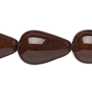 bead, porcelain, dark honey, 34x23mm-37x25mm teardrop. sold per 8-inch strand.