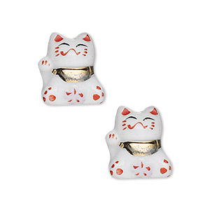 bead, porcelain, multicolored, 13x11mm 3d cat. sold per pkg of 2.