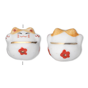 bead, porcelain, multicolored, 20x19mm 3d cat. sold per pkg of 2.