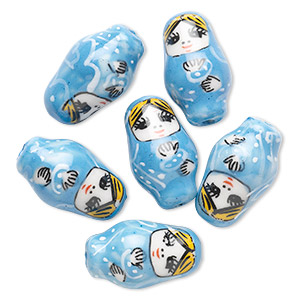 bead, porcelain, multicolored, 26x16mm hand-painted russian doll with 2.5-3mm hole. sold per pkg of 6.