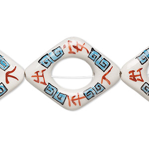 bead, porcelain, multicolored, 50x39mm-51x40mm puffed diamond with hand-painted chinese symbols for safe travels and 22x18mm oval cutout. sold per pkg of 4.