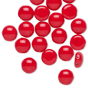 bead, preciosa candy™, czech pressed glass, opaque red, 8mm candy with (2) 0.8-0.9mm holes. sold per pkg of 20.