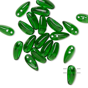 bead, preciosa chilli™, czech pressed glass, transparent emerald green, 11x4mm top-drilled chilli with 2 holes. sold per pkg of 20.