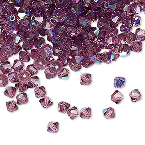 bead, preciosa czech crystal, amethyst ab, 4mm faceted bicone. sold per pkg of 48.