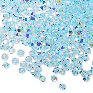 bead, preciosa czech crystal, aqua bohemica ab, 3mm faceted bicone with 0.7-0.8mm hole. sold per pkg of 1,440 (10 gross).