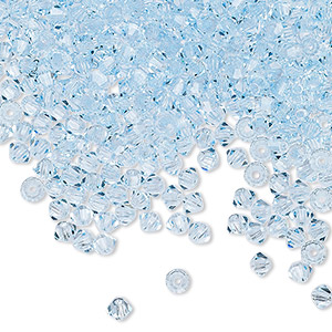 bead, preciosa czech crystal, aquamarine, 3mm faceted bicone with 0.7-0.8mm hole. sold per pkg of 144 (1 gross).