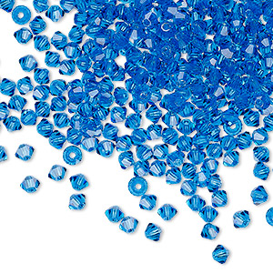 bead, preciosa czech crystal, capri blue, 3mm faceted bicone with 0.7-0.8mm hole. sold per pkg of 1,440 (10 gross).