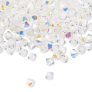 bead, preciosa czech crystal, crystal ab, 4mm faceted bicone. sold per pkg of 48.