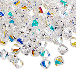 bead, preciosa czech crystal, crystal ab, 6mm faceted bicone. sold per pkg of 288 (2 gross).