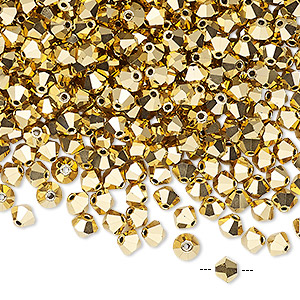bead, preciosa czech crystal, crystal aurum 2x, 4mm faceted bicone. sold per pkg of 48.