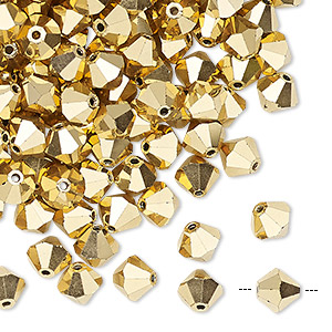 bead, preciosa czech crystal, crystal aurum 2x, 6mm faceted bicone. sold per pkg of 144 (1 gross).