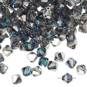 bead, preciosa czech crystal, crystal bermuda blue, 6mm faceted bicone. sold per pkg of 24.