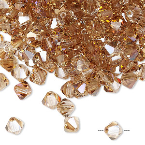 bead, preciosa czech crystal, crystal celsian, 6mm faceted bicone. sold per pkg of 288 (2 gross).