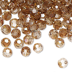 bead, preciosa czech crystal, crystal celsian, 6mm faceted round. sold per pkg of 144 (1 gross).