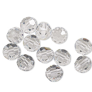 bead, preciosa czech crystal, crystal clear, 8mm faceted round. sold per pkg of 144 (1 gross).