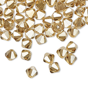bead, preciosa czech crystal, crystal golden flare 2x, 6mm faceted bicone. sold per pkg of 288 (2 gross).
