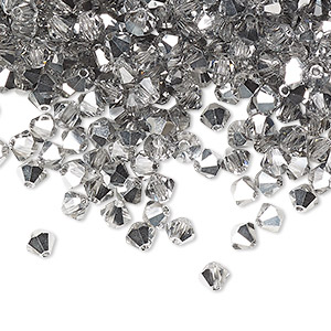 bead, preciosa czech crystal, crystal labrador, 4mm faceted bicone. sold per pkg of 48.