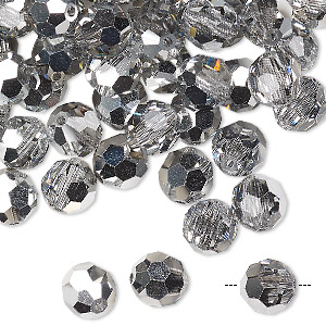 bead, preciosa czech crystal, crystal labrador, 8mm faceted round. sold per pkg of 144 (1 gross).