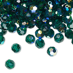 bead, preciosa czech crystal, emerald ab, 6mm faceted round. sold per pkg of 144 (1 gross).