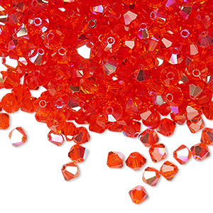 bead, preciosa czech crystal, hyacinth ab, 4mm faceted bicone. sold per pkg of 144 (1 gross).