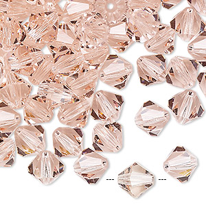 bead, preciosa czech crystal, light rose, 8mm faceted bicone. sold per pkg of 72.