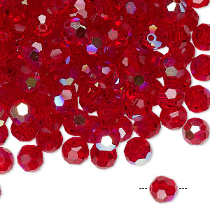bead, preciosa czech crystal, light siam ab, 6mm faceted round. sold per pkg of 12.
