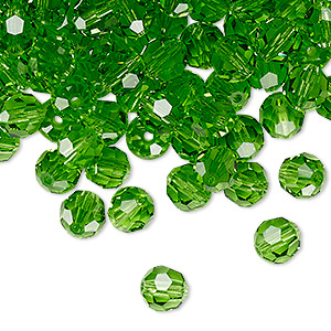 bead, preciosa czech crystal, peridot, 6mm faceted round. sold per pkg of 144 (1 gross).