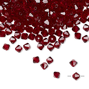 bead, preciosa czech crystal, siam, 4mm faceted bicone. sold per pkg of 48.