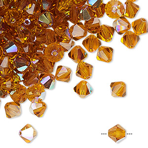 bead, preciosa czech crystal, topaz ab, 6mm faceted bicone. sold per pkg of 288 (2 gross).
