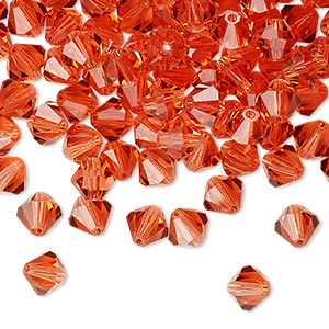 bead, preciosa czech crystal, transparent padparadscha, 6mm faceted bicone. sold per pkg of 24.