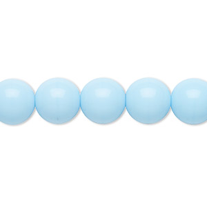bead, preciosa, czech glass druk, opaque blue turquoise, 10mm round. sold per 16-inch strand.