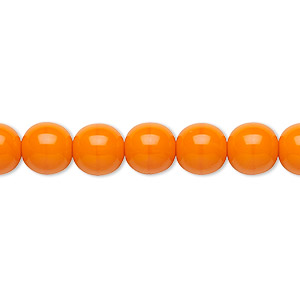bead, preciosa, czech glass druk, opaque bright orange, 8mm round with 0.8-1.3mm hole. sold per 16-inch strand.