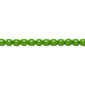 bead, preciosa, czech glass druk, opaque candy green, 4mm round with 0.8-1mm hole. sold per 16-inch strand.