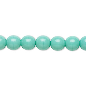 bead, preciosa, czech glass druk, opaque turquoise, 8mm round with 0.8-1.3mm hole. sold per 16-inch strand.