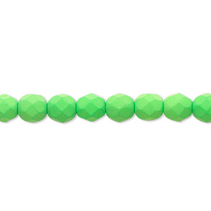 bead, preciosa, czech painted fire-polished glass, matte neon green, 6mm faceted round. sold per 8-inch strand, approximately 35 beads.