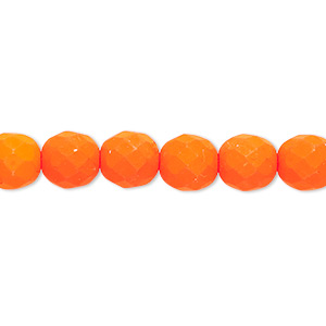 bead, preciosa, czech painted fire-polished glass, matte neon orange, 8mm faceted round. sold per 8-inch strand, approximately 25 beads.