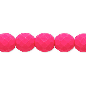 bead, preciosa, czech painted fire-polished glass, matte neon pink, 10mm faceted round. sold per 8-inch strand, approximately 20 beads.
