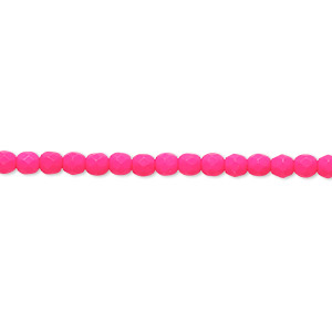 bead, preciosa, czech painted fire-polished glass, matte neon pink, 3mm faceted round. sold per 8-inch strand, approximately 65 beads.