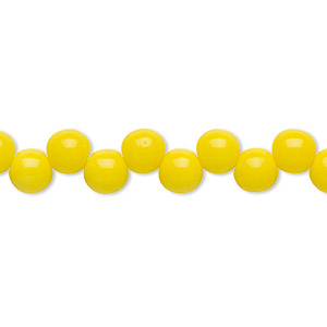 bead, preciosa, czech pressed glass druk, opaque yellow, 6mm top-drilled round with 0.8-0.9mm hole. sold per pkg of 30.