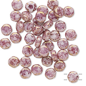 bead, preciosa, czech pressed glass, marbled opaque violet, 6mm puffed disc with (2) 0.7-0.8mm holes. sold per pkg of 40.